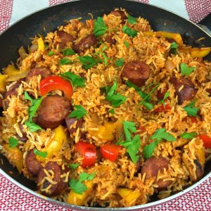 Farmer Sausage, Peppers & Rice Recipe