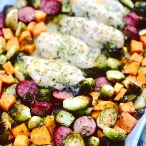 Sheet Pan Honey Garlic Sausage & Chicken with Veggies